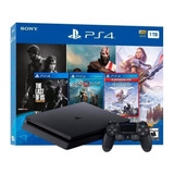 Sony Playstation 4 Slim 1tb The Last Of Us Remastered/god Of War/horizon Zero Dawn Complete Edition Jet Black